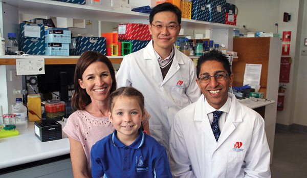 Dr Laurence Cheung and Dr Rishi Kotecha with Mother Marny Parker and 7yo